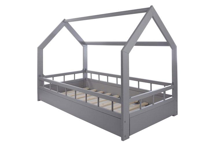 Velinda Lit Maison 2 en 1 avec barreaux Gris lit-cabane