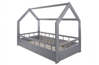 Velinda Lit Maison 2 en 1 avec barreaux Gris : le lit cabane idéal pour votre enfant